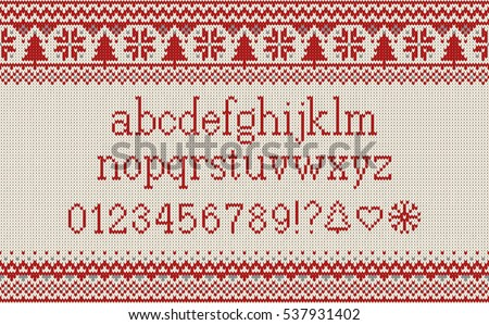 Sea Knitted Font Knitted Latin Alphabet Stock Vector 515805979 ...