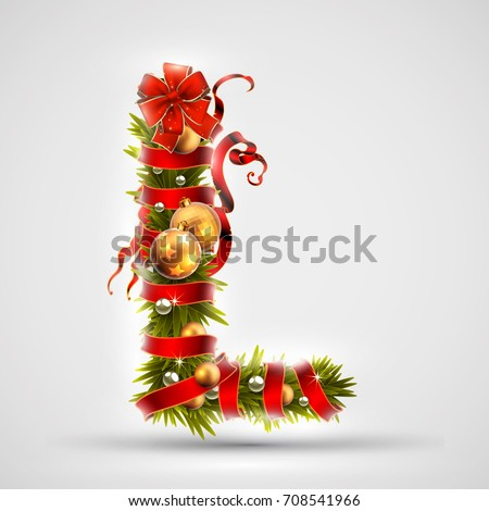 Christmas font. Letter L of Christmas tree branches, decorated with a red ribbon and golden balls. Highly realistic illustration.