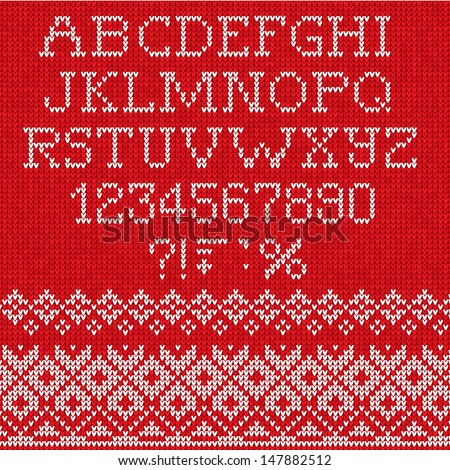 Christmas Font: Scandinavian style seamless knitted  - stock vector