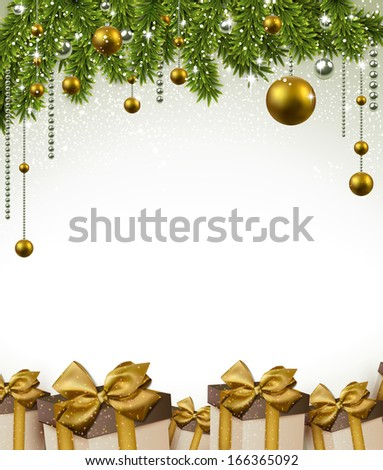 Christmas frame background with fir twigs and gift boxes. Vector illustration.  - stock vector