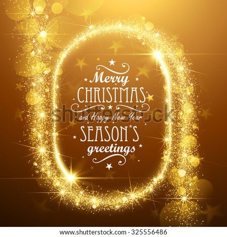 Christmas Frame background with gold magic stars. Vector illustration - stock vector