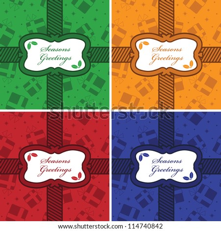 christmas frame decorations on gift pattern background, four variations