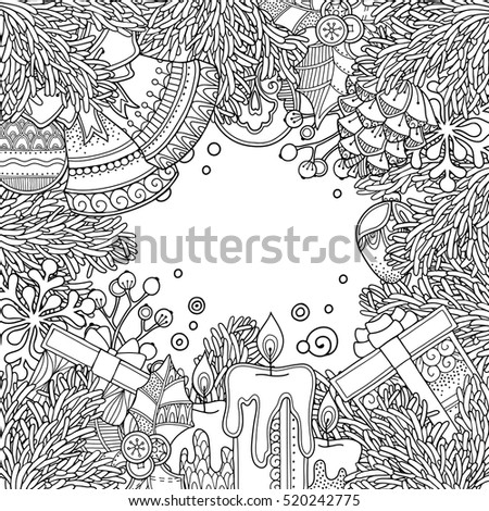 Christmas Frame In Doodle Style Floral Ornate Decorative Tribal Decor