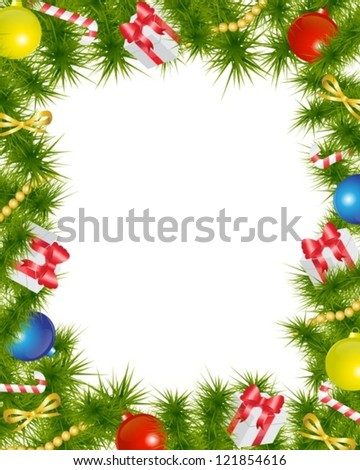 Christmas frame made of fir branches adorned with Christmas decorations, gifts, stars and candy