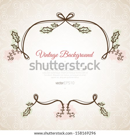 Christmas frame on the gold pattern background - stock vector