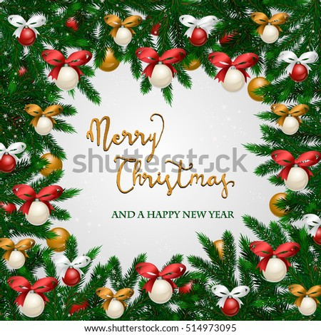Christmas Frame Snowy Xmas Tree Branches Stock Vector 514973095 ...