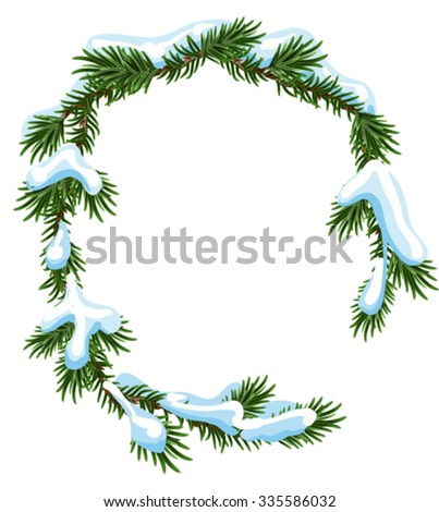 Christmas frame spruce branches in snow. Isolated illustration in vector format - stock vector