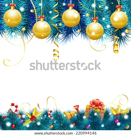 Christmas Frame with Baubles, Fir Branches, Gold Streamer, Candy, Gift and Confetti, vector isolated on white background. - stock vector