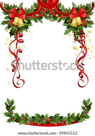 Christmas frame with bells. Space for text