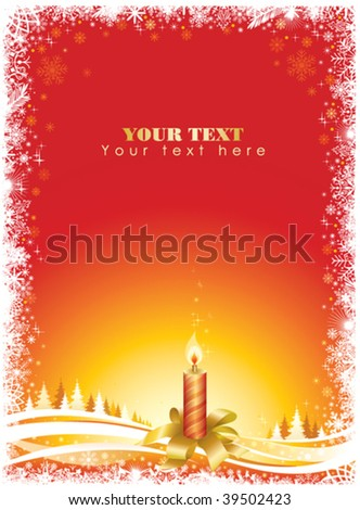 Christmas frame with candle and trees. Text space exists for your notes