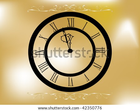 Christmas frame with clock - vector illustration