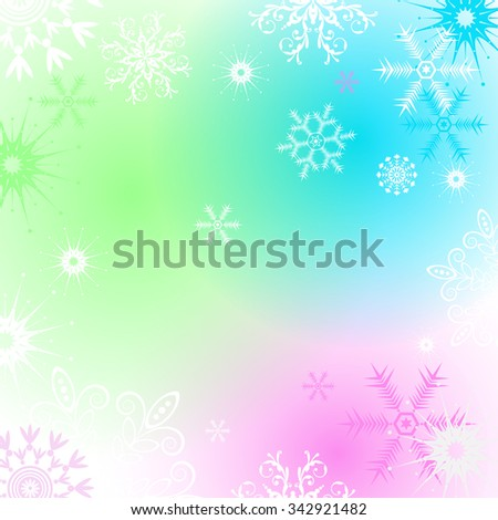 Christmas frame with colorful spots and snowflakes, vector eps 10