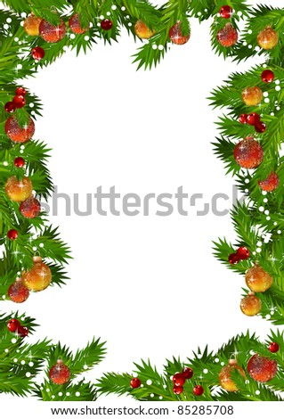 Christmas frame with fir branches and gold and red balls - stock vector