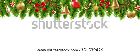 Christmas Frame With Gradient Mesh, Vector Illustration - stock vector