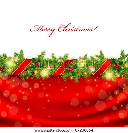 Christmas frame with green fir and holiday decoration - stock vector