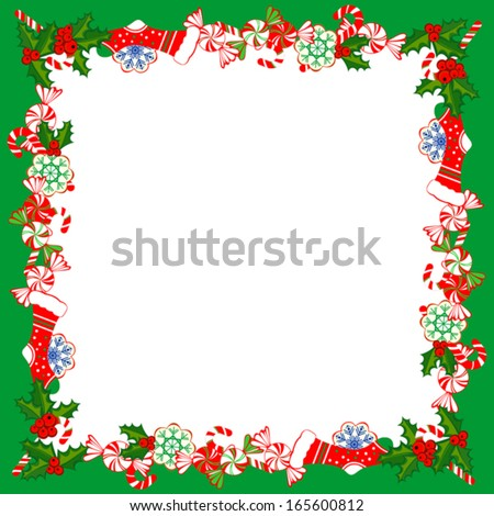 Christmas Frame With Holly Decoration. Vector illustration. - stock vector
