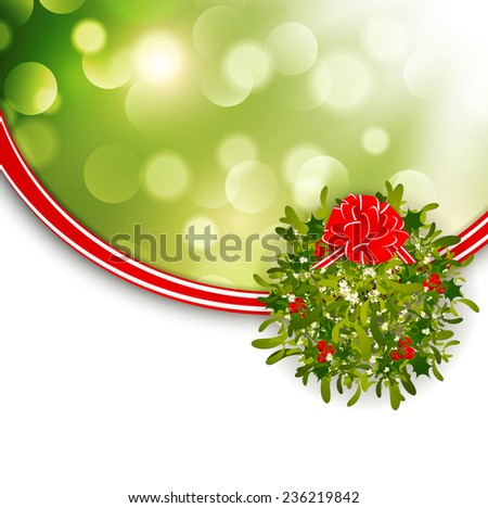 Christmas Frame With Mistletoe and Copyspace - stock vector