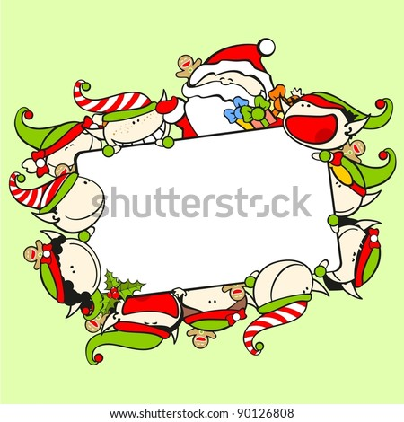 Christmas frame with Santa Claus and elves - stock vector