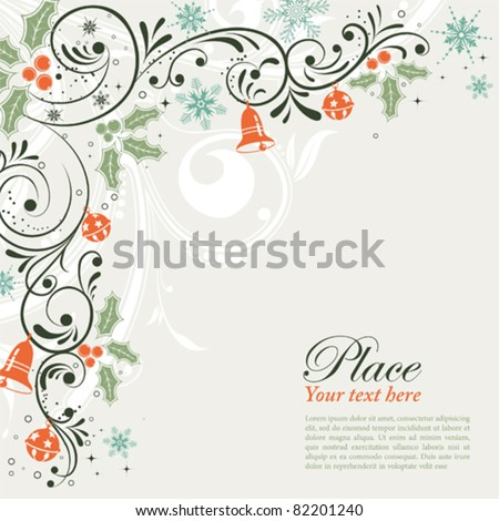 Christmas Frame with snowflakes and holly berry, element for design, vector illustration - stock vector