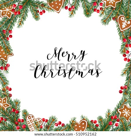 Christmas Frame Wreath Made Evergreen Fir Stock Vector (Royalty Free ...