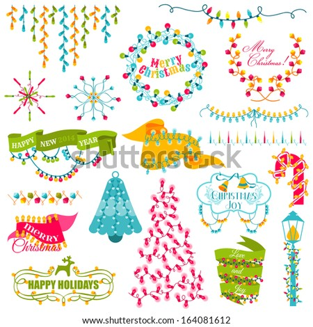 Christmas Frames, Wreath, Light bulbs Set - for design and scrapbook - in vector - stock vector