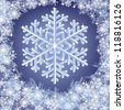 christmas frozen background with snowflakes. Vector illustration - stock vector