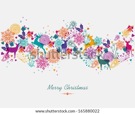 Christmas garland colorful holiday elements isolated background. EPS10 vector file organized in layers for easy editing. - stock vector