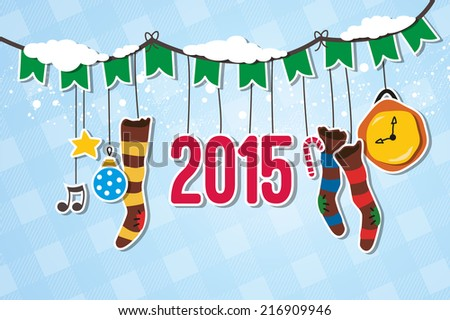 Christmas garland decorated with 2015 hanger - stock vector