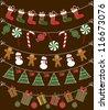 christmas garland set design. vector illustration - stock vector
