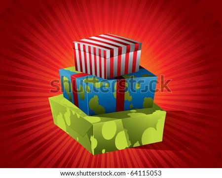 Christmas gift - stock vector