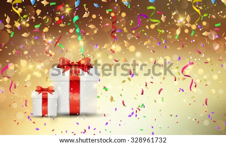 Christmas gift background with confetti and streamers - stock vector