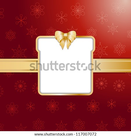 Christmas gift background with present cut out, ribbon and bow - stock vector