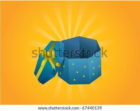 Christmas gift box - stock vector