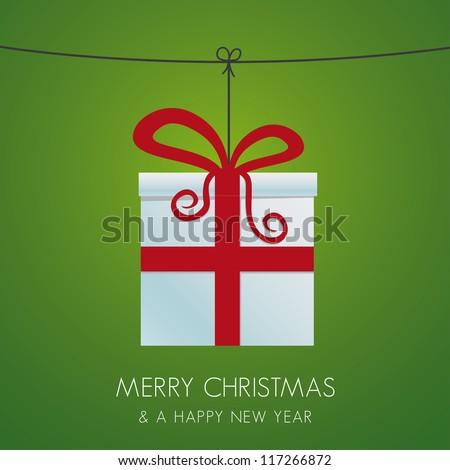 christmas gift box hanging on a twine - stock vector