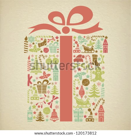 Christmas gift box made from Christmas icons - stock vector