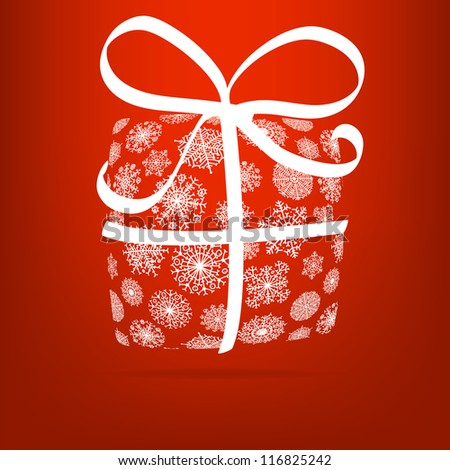 Christmas gift box made from snowflakes. + EPS8 vector file