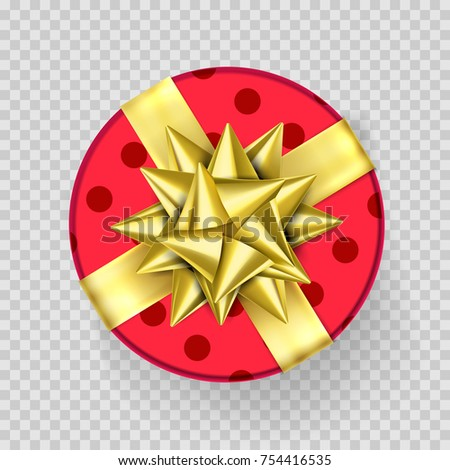 Christmas gift box red present golden 754416535 christmas gift box red present in golden ribbon bow and wrapping paper dotted pattern vector negle Gallery