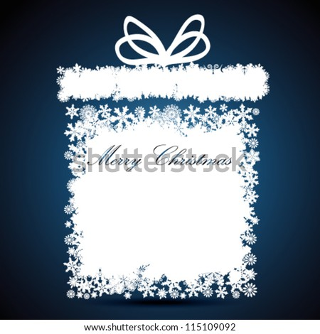 Christmas gift box, snowflake design background. - stock vector
