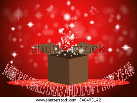 christmas gift box with light illustratoin red background