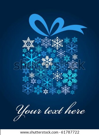 Christmas gift box with snowflake pattern - stock vector