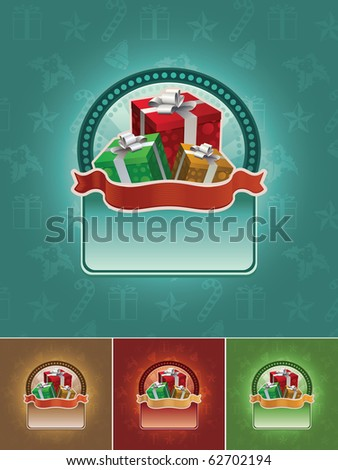 Christmas gift boxes banner set. All elements are layered separately in vector file. Easy editable CMYK color mode. - stock vector