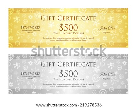 Christmas gift certificate with snowflake pattern in gold and silver color - stock vector