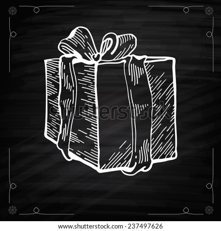 Christmas Gift Chalkboard Style. Outline Vector illustration gift boxes with bows and ribbons. Chalkboard drawing of Christmas Gift. Graphic Engraving Style. Vector Christmas Gift - stock vector