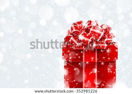 Christmas gift in snow on bokeh background. Vector illustration - stock vector