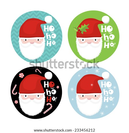 Christmas gift labels with Santa - stock vector