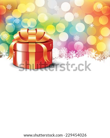 Christmas gift on colorful  bokeh background