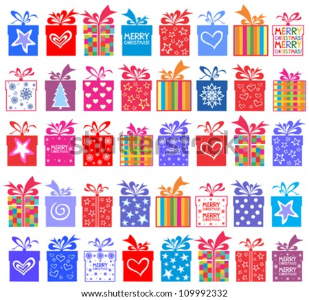 Christmas gift set. Gift boxes with bow and ribbon isolated on White background. Vector illustration - stock vector