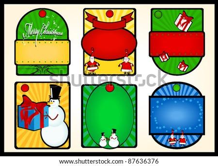Christmas gift tag set - stock vector