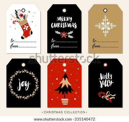 Christmas gift tag with calligraphy. Handwritten modern brush lettering: Merry Christmas, Joy, Holly Jolly. Hand drawn design elements. - stock vector