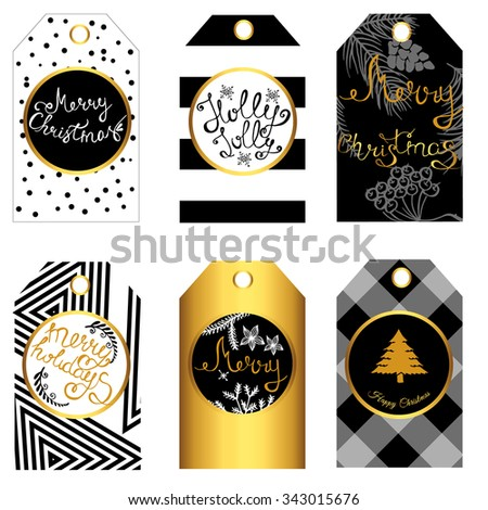 Christmas gift tags and labels. Christmas stickers. Template for Greeting Scrap booking, Congratulations, Invitations, Planner, Diary, Notes. - stock vector